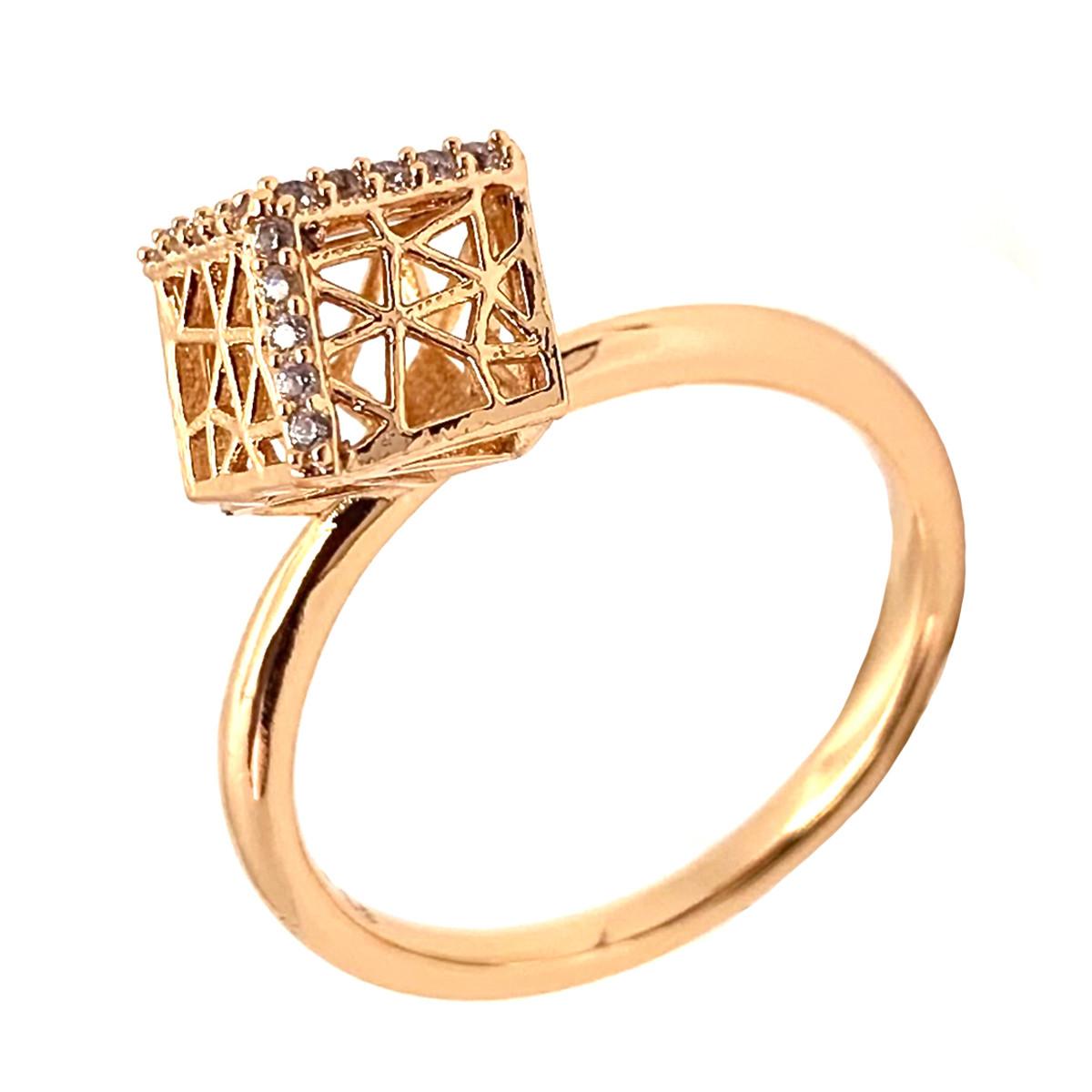 Кольцо Xuping из медицинского золота, белые фианиты, позолота 18K, 12027