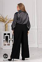 Деловой брючный костюм двойка, блуза с воротником бант и расклешенные брюки с 50 по 60 размер, фото 3