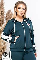 Спортивний жіночий костюм з кофтою на блискавці і лампасами з 48 по 58 розмір, фото 3