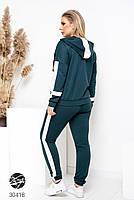 Спортивний жіночий костюм з кофтою на блискавці і лампасами з 48 по 58 розмір, фото 5