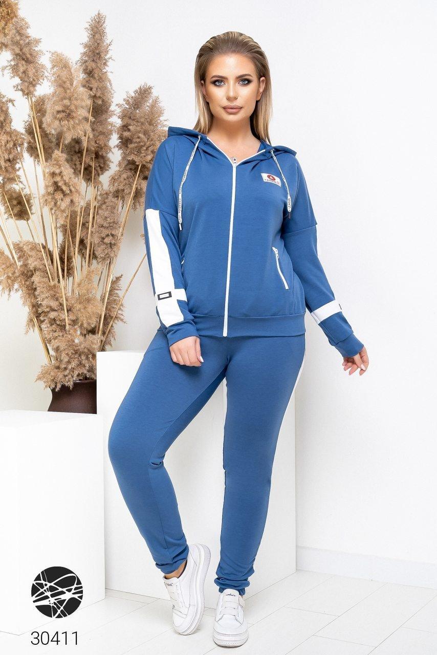 Спортивний жіночий костюм з кофтою на блискавці і лампасами з 48 по 58 розмір