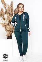 Спортивний жіночий костюм з кофтою на блискавці і лампасами з 48 по 58 розмір, фото 7