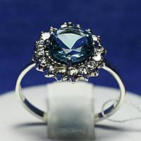 Серебряное кольцо с цирконием Голубой Цветок 1015г, фото 1