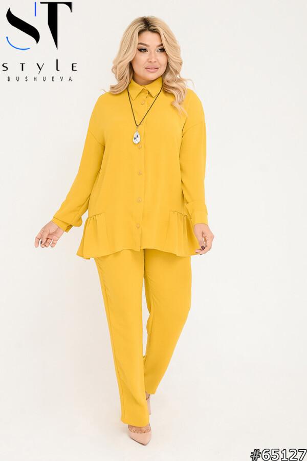 Желтый брючный костюм креп жатка: прямые брюки + свободная кофта на пуговицах с рюшами