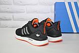 Кросівки чоловічі чорні нубук в стилі Adidas Iniki, фото 3