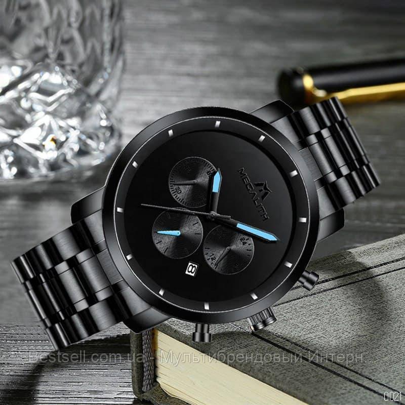 Часы  оригинальные мужские наручные кварцевый хронограф Megalith 8021M Black-Light Blue черного цвета