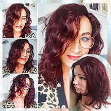 Парик из натуральных волос с пробором бургунд ASOLE-99J