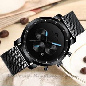 Часы  оригинальные мужские наручные кварцевый хронограф Megalith 8021M Black-Light Blue Metall черного цвета