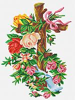 Схема полной вышивки бисером Сб-743 Крест с розами (на белом)