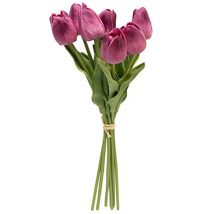 Искусственный букет цветов, 7 тюльпанов, фиолетовый, ткань, полиуретан, 30 см (631222)