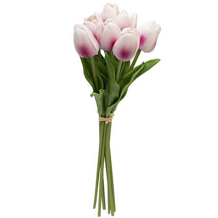 Искусственный букет цветов, 7 тюльпанов, светло-розовый, ткань, полиуретан, 30 см (631215)