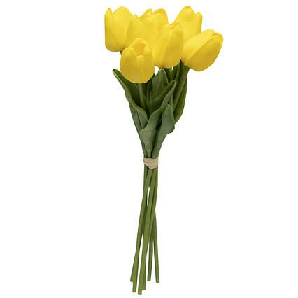 Искусственный букет цветов, 7 тюльпанов, желтый, ткань, полиуретан, 30 см (631192)