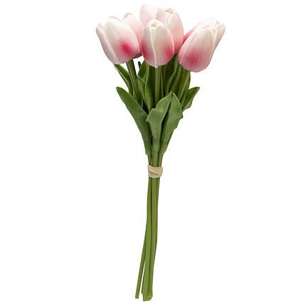 Искусственный букет цветов, 7 тюльпанов, розовый, ткань, полиуретан, 30 см (631178)