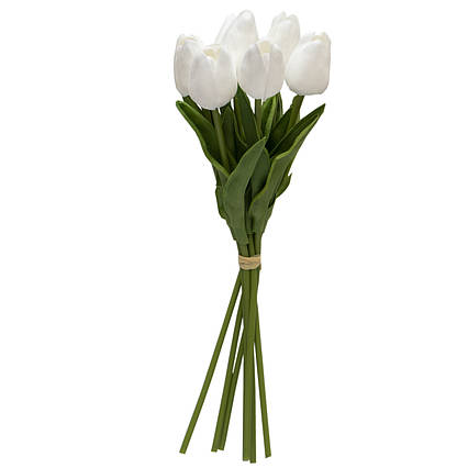Искусственный букет цветов, 7 тюльпанов, белый, ткань, полиуретан, 30 см (631147)
