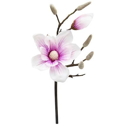 Искусственный цветок Магнолия, 45 см, бело-розовый, ткань, пластик (631482)