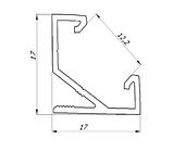 Угловой НЕАНОДИРОВАННЫЙ алюминиевый профиль для светодиодной ленты ЛПУ-17, фото 2