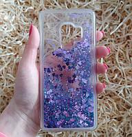Чехол с сердечками и блестками в жидкости для Samsung Galaxy S9, Фиолетовый