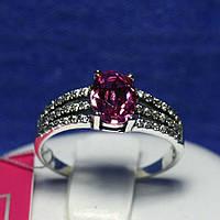 Серебряное кольцо с розовым камнем 1038роз, фото 1