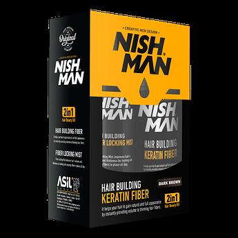 Камуфляж для залысин Nishman Hair Building Keratin Fiber Темно-коричневый
