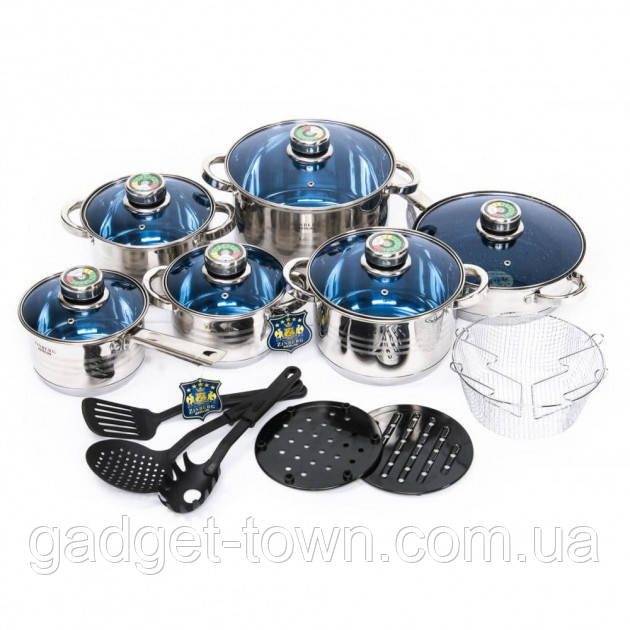 Набор посуды для кухни German Family (19 предметов) + подарок набор ножей (4 шт)