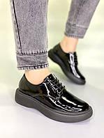 Женские закрытые туфли на шнуровке натуральная кожа, фото 1