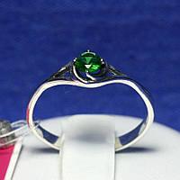 Серебряное кольцо на помолвку с зеленым фианитом 1054з, фото 1