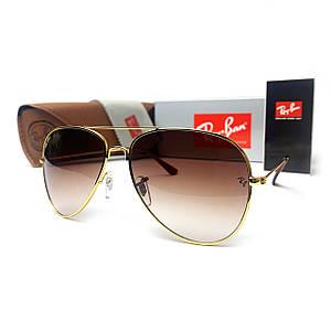 Солнцезащитные очки R-B Aviator Капли 3026 Золото Коричневый Градиент