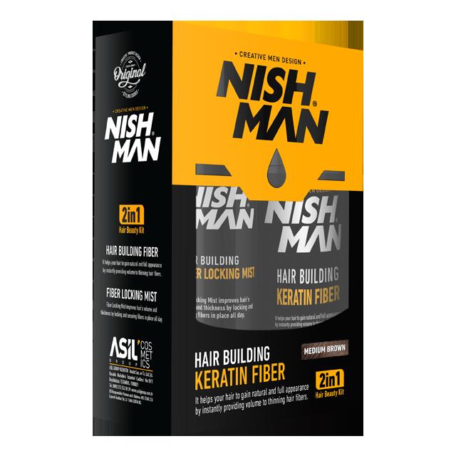 Камуфляж для залисин Nishman Hair Building Keratin Fiber Коричневий
