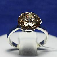 Серебряное кольцо с фианитом коньячным 1455кон, фото 1