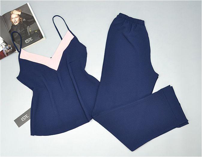 Пижама женская майка штаны Este однотонная темно-синяя.