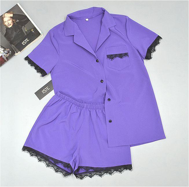 Комплект пижама рубашка и шорты с кружевом Este 226.