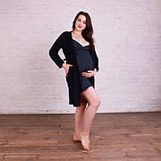 Комплект бавовняний з мереживом халат + нічна сорочка для вагітних і годуючих