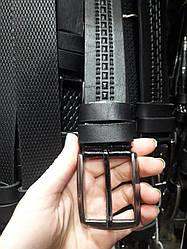 Ремень мужской кожаный черный стильный ширина 4 см под джинсы шорты Р-1103