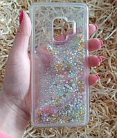 Чехол с блестками и звездочками в жидкости для Samsung Galaxy S9, Серебристый