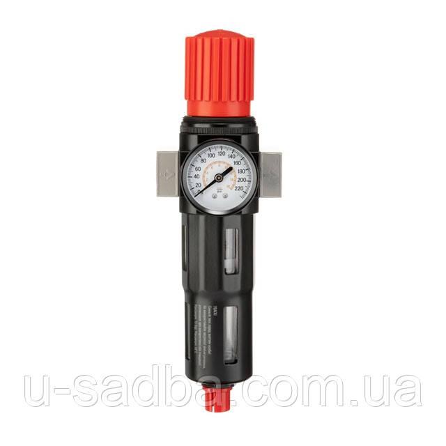 """Фільтр для очищення повітря з редуктором 1/2"""", 5мкм, 2500 л/хв, метал, професійний"""