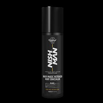 Камуфляж для седых волос Nishman Hair Magic Retouch Root Concealer Черный