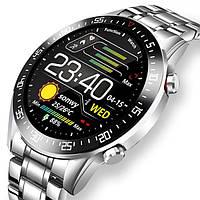 Серебристые оригинальные многофункциональные мужские умные смарт часы