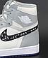 Жіночі кросівки Nike Dior x Jordan 1 high (сірий з білим) жіноча весняна взуття К12269, фото 8
