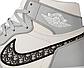 Жіночі кросівки Nike Dior x Jordan 1 high (сірий з білим) жіноча весняна взуття К12269, фото 10