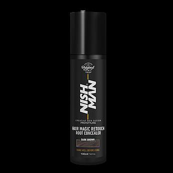 Камуфляж для седых волос Nishman Hair Magic Retouch Root Concealer Темно-коричневый