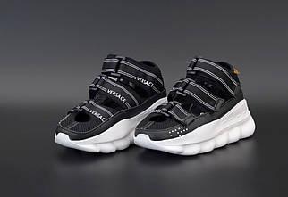 Чоловічі чорні сандалі Versace Chain