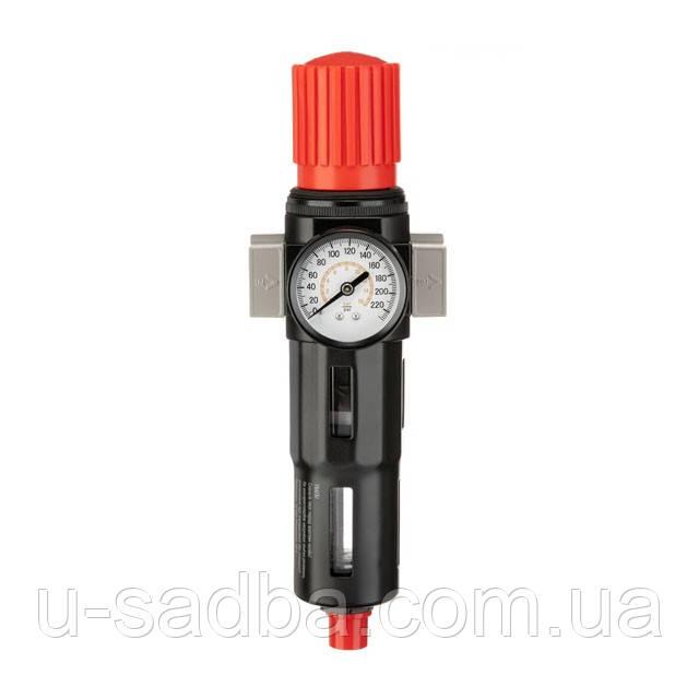 """Фильтр для очистки воздуха с редуктором 3/4"""", 5мкм, 2600 л/мин, металл, профессиональный"""