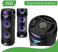 Портативна Бездротова Bluetooth колонка+світломузика, мікрофон і пульт ДУ, ZQS-6201