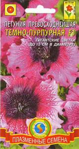 Насіння квітів Петунія превосходнейшая Темно-пурпурова 10 драже в пробірці пурпурові (Плазмові насін