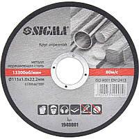 Круг відрізний по металу і нержавіючої сталі Ø125×1.6×22.2 мм, 12250об/хв SIGMA