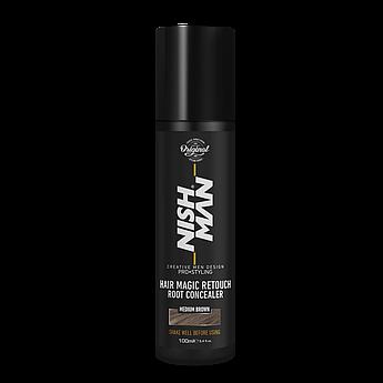 Камуфляж для седых волос Nishman Hair Magic Retouch Root Concealer Коричневый