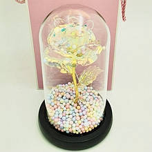 Вечная роза в колбе золотая с разноцветной LED подсветкой 16 см | романтический подарок ночник роза GOLD