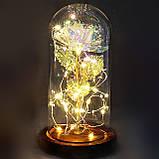 Вечная роза в колбе золотая с разноцветной LED подсветкой 16 см | романтический подарок ночник роза GOLD, фото 5