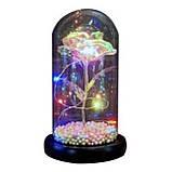 Вечная роза в колбе золотая с разноцветной LED подсветкой 16 см | романтический подарок ночник роза GOLD, фото 6