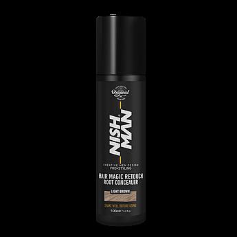 Камуфляж для седых волос Nishman Hair Magic Retouch Root Concealer Светло-коричневый